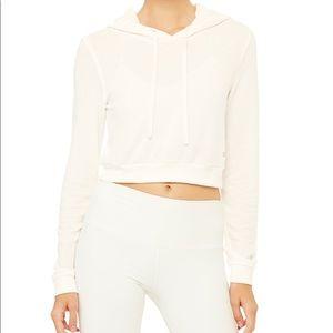 NWOT alo yoga getaway cropped hoodie white ivory